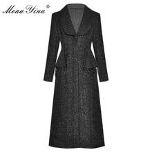 MoaaYina moda tasarımcısı yünlü kumaş rüzgarlık palto kadınlar tek göğüslü uzun kollu boncuklu palto