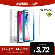 Ugreen زجاج حماية على آيفون 7 آيفون 12 برو ماكس X XS ماكس XR 11 8 7 6 Plus 2.5D الزجاج على آيفون 7 6 حامي الشاشة