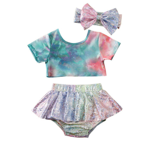 Toddler Kids Baby Girls Bikini Set 3Pcs Gradient Swimwear Swimsuit Beachwear Costume Kids Bathing Suits Girls Fashion Bikinis