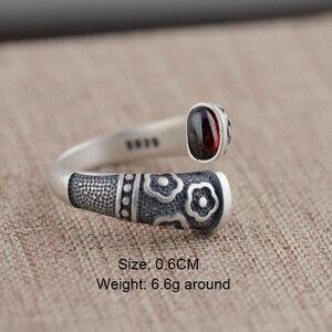 Image 2 - Gqtorch vitnage thai anel de prata 925 anéis de prata esterlina para as mulheres incrustado vermelho granada natural flor de pedra preciosa gravado grenat
