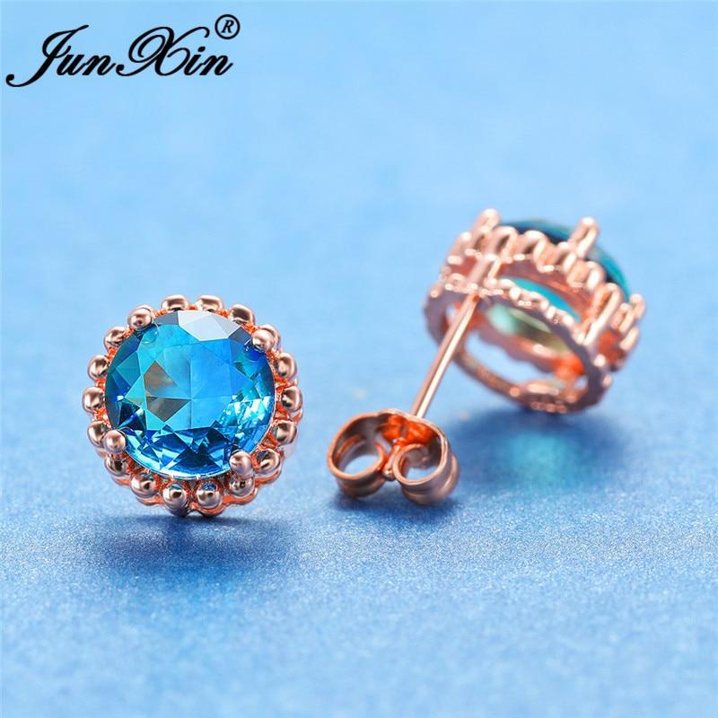 Boho Round Rainbow Fire Crystal Earrings For Women White Rose Gold Colorful Zircon Green Blue Stone Ear Stud Earring Wedding CZ