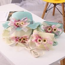 Sun-Hats Flowers Travel Wide Brim Girl Kids Children's Summer New Straw Bags-Set Beautiful