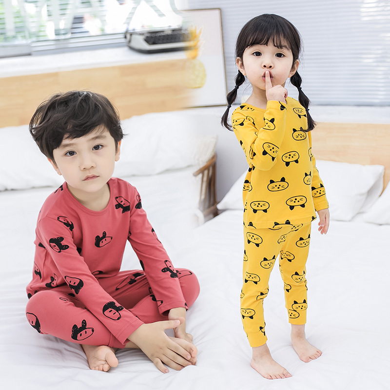 CHILDREN'S Underwear Suit 2018 Girls BOY'S Spring Autumn Winter Pajamas 0-1-2-3-4-Year-Old 5 Baby Cartoon Tracksuit