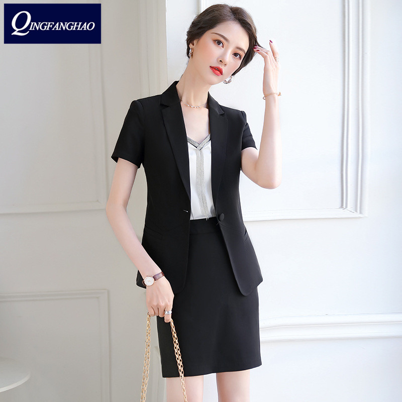 Summer 2020 office suit two-piece workwear woman outside fashion short-sleeved thin blazer