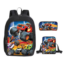 3pcs/set Cartoon Blaze and The Monster Machines Print Backpack for Boys Children School