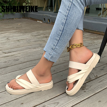 Elegant Leather Slippers Women Flat Shoes big size Comfortable Folds Outdoor Slides 2021 Summer Woman flip flops vc477