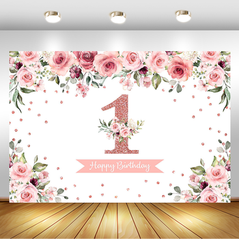 1st Birthday Girl Backdrop Rose Gold Flowers Personalized Photographic Photography Background For Photo Studio Decoration Banner