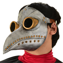 Retro Medieval Steampunk Latex Mask Plague Doctor Long Nose Bird Full Face Masks For Men Women Halloween Party Carnival Props(China)