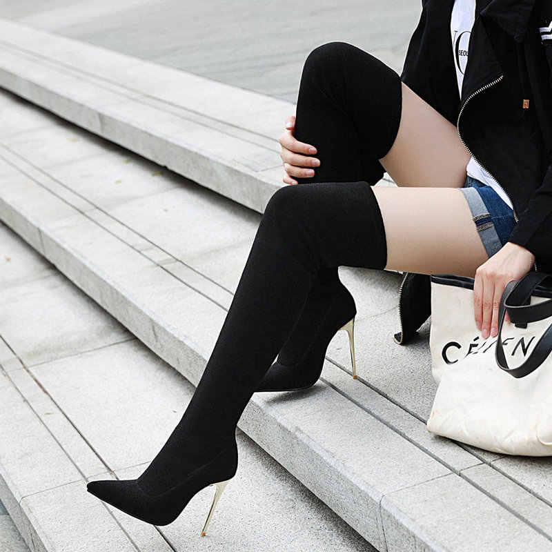 Sliver เสือดาวสีดำเซ็กซี่ต้นขาสูงรองเท้าส้นสตรีเข่ารองเท้า Pointed Toe รองเท้าฤดูใบไม้ร่วงฤดูหนาว 2019