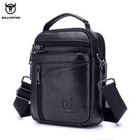 BULLCAPTAIN 2019 New Men Bag Genuine Leather Man Brand Crossbody Shoulder Bag Small Business Bags Male Messenger Leather Bags
