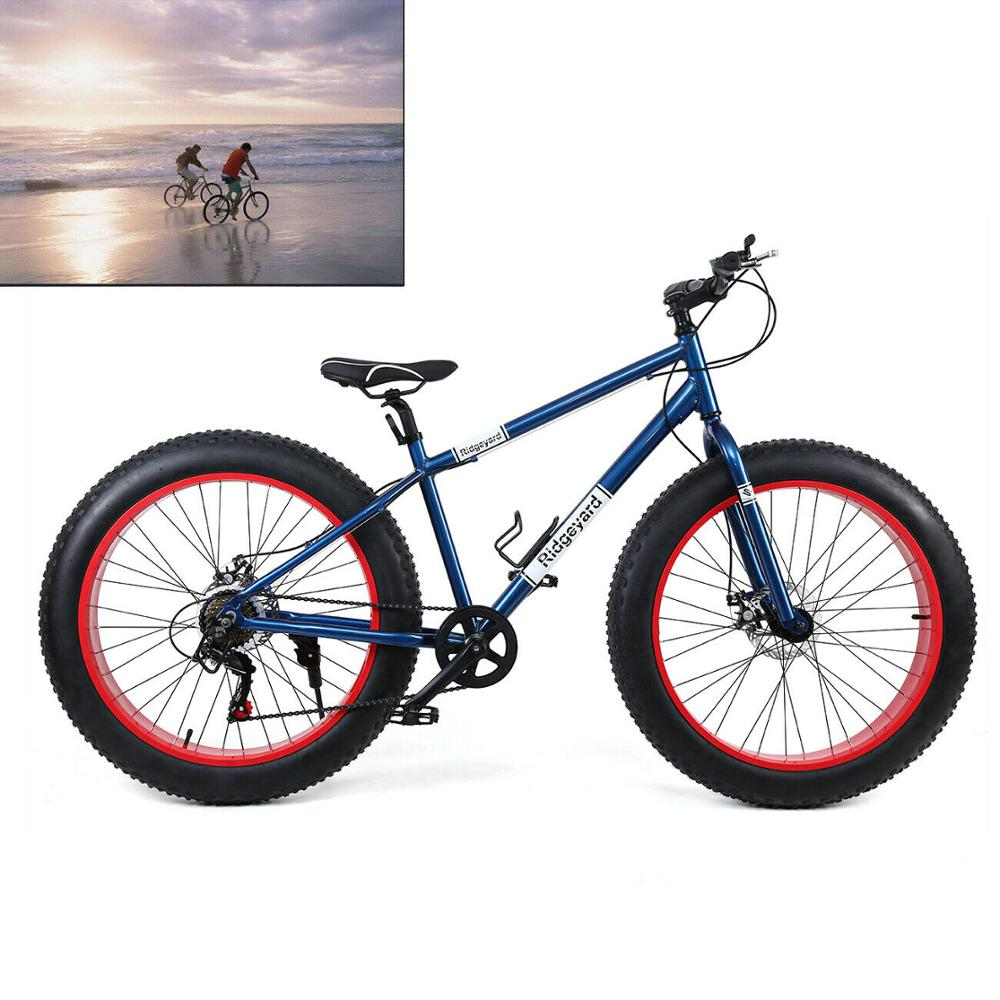26 Inch Mountain Bike Frame Fork Wheel Tire 7 Gears  Snow Beach Bicycle Mens Fat Tyre Cycling