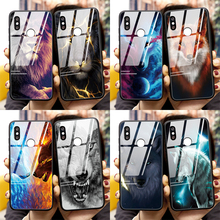 Lion Wolf Tempered Glass TPU Back Cover Case For Xiaomi Mi Redmi 10 K20 K30 Note 8T 10 5 6 7 8 9 SE Pro A3 A2 Lite 6X 7A S2 Case