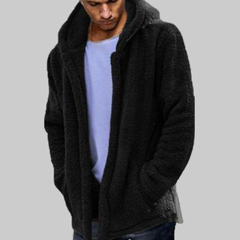 Men Winter Thick Hoodies Tops Fluffy Fleece Fur Jacket Hooded Fashion Warm Oversized Cardigan Long Sleeve Coat Outerwear Hot image