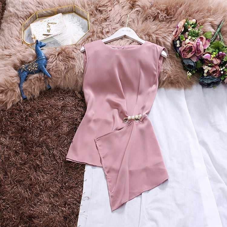 2019 夏 O ネック女性ノースリーブサテンブラウス女性韓国ファッションノースリーブメンズ女性のシルクのシャツトップス