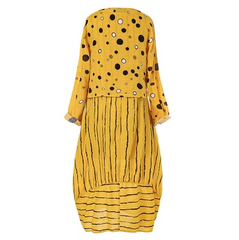 Echoine Women long maxi dresses Polka dot large loose fake two-piece cotton linen dress autumn plus size sundress female cloth 5