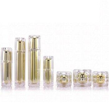 Luxury Acrylic Suit High Grade Acrylic Spray Bottle Travel Lotion Pump Bottle Makeup Tool Golden Cosmetics Bottling 100ml 5pcs