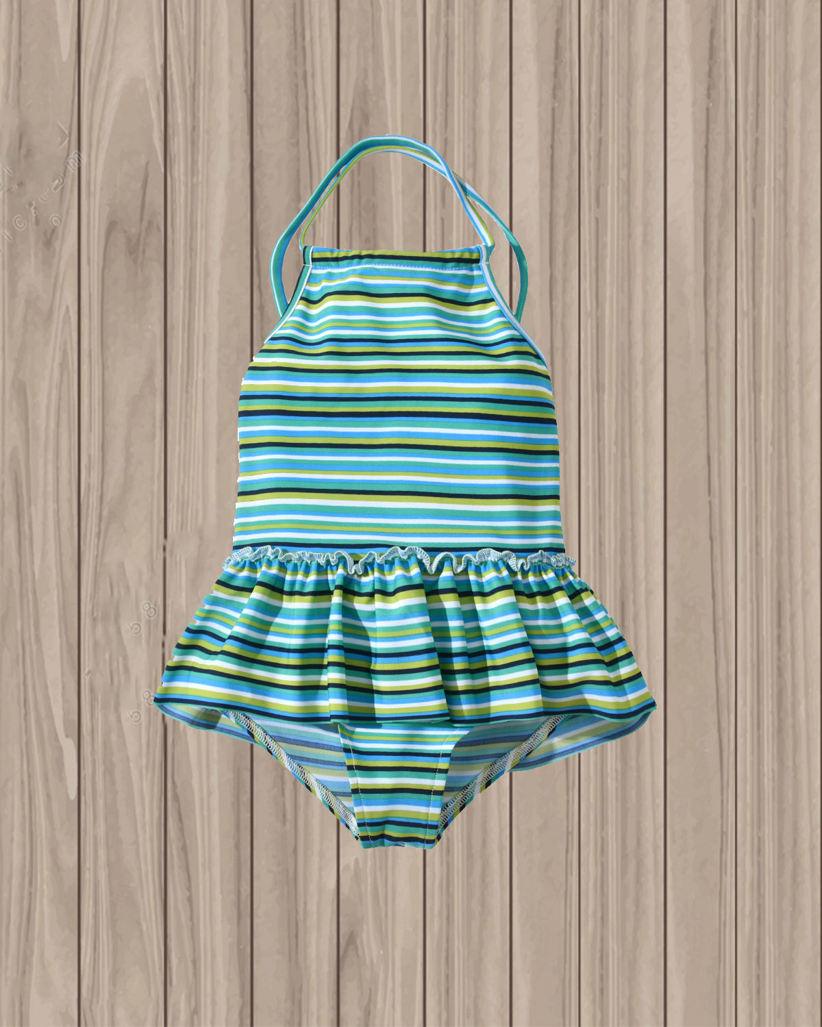 19 Years New Style KID'S Swimwear Girls Stripes Printed Small Group Tour Bathing Suit GIRL'S Off-Shoulder Halter One-piece Swimw