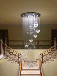 Image 1 - 2018 جديد الحديثة 13 قطعة بريق كريستال الكرة تصميم الثريا أضواء كبيرة لامعة دي كريستال D80 * H300cm ضمان 100%
