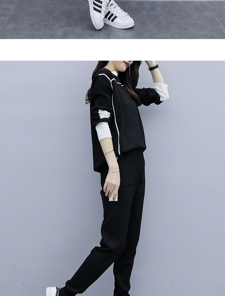 2019 Autumn Black Knitted Two Piece Sets Outfits Women Plus Size Long Sleeve Tops And Pants Suits Casual Fashion Korean Sets 32