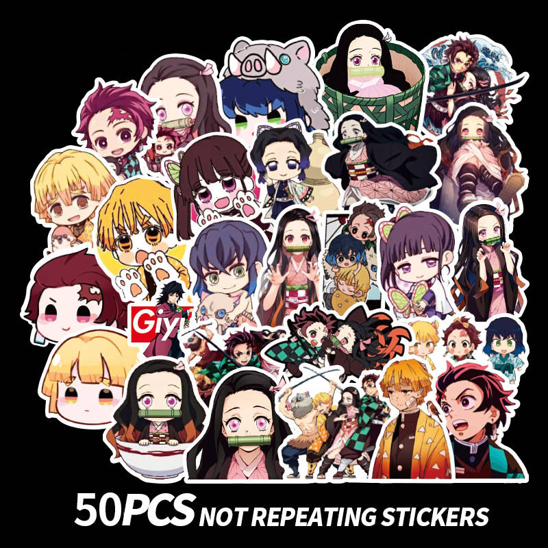 50Pcs Demon Slayer: Kimetsu No Yaiba Anime Sticker Nezuko Zenitsu Tsuyuri Kanawo Scrapbooking Stickers For Laptop Suitcase PVC