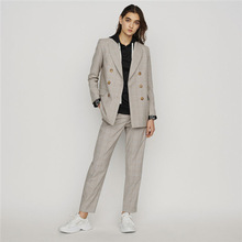 Autumn 2019 New Simple British Style Double-breasted Leisure Mid-long Small Suit Woman Plaid Women Jackets and Coats