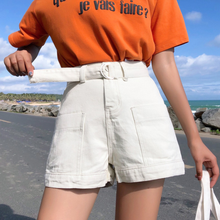 New 2020 Black White And Blue Denim Shorts Women With Belt Street Style Pockets Short Jeans Shorts High Waist Short Pants AQ184(China)