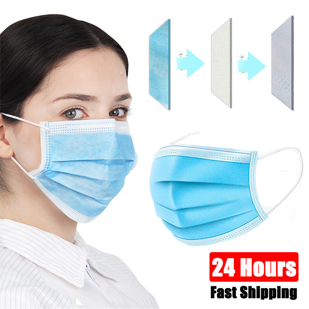 100pcs Face Mask Anti Virus Disposable Protective 3 Layers Non Woven Filter Dustproof Earloop Mouth Outdoor Safety Cloth Masks