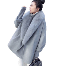 Autumn Winter Woolen Coat Women 2019 New Korean Popular Cashmere Overcoat Large Fur Collar Long Loose Abrigo Mujer