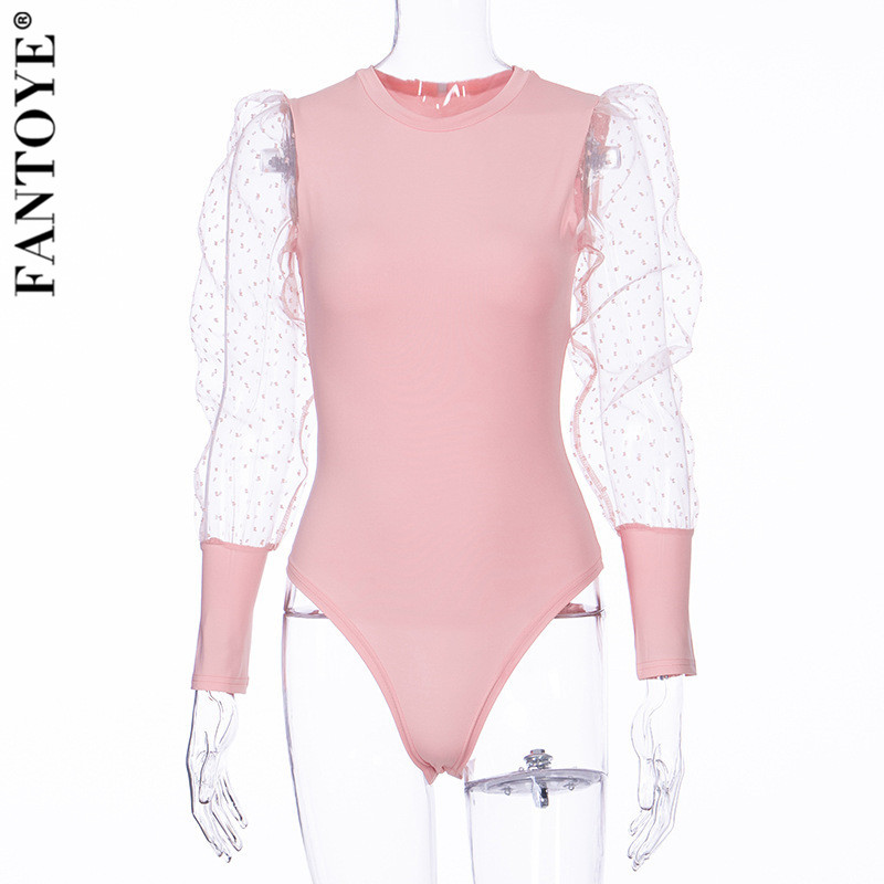 H446c217acfce4aaf82a0f1fa0c1adc86W - FANTOYE New Lace Puff Sleeve Women's Bodysuit Autumn Long Sleeve Polka Dot Vintage Bodycon Jumpsuit Tops Skinny Mesh Bodysuits