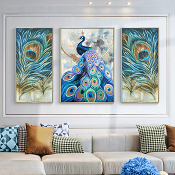Peacock hand-painted Living Room Wall Triptych Painting Decorative Wall Murals Villa Restaurant Entrance Paintings