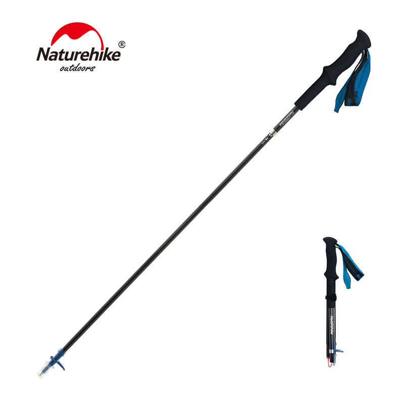 Naturehike 4 Section Carbon Fiber Trekking Pole Foldable Hiking Stick Ultralight Walking Stick Outdoor Telescopic Trekking Cane