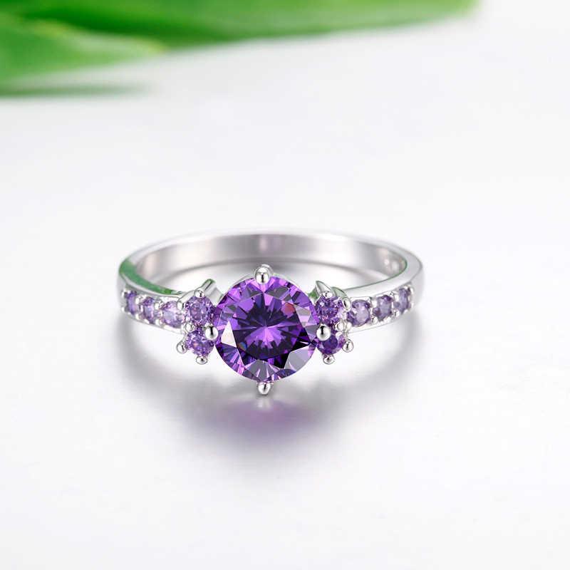 Yanhui na moda pedras preciosas prata 925 jóias roxas anéis de cristal para as mulheres anel de prata sólida ametista luxo anel cocktaill