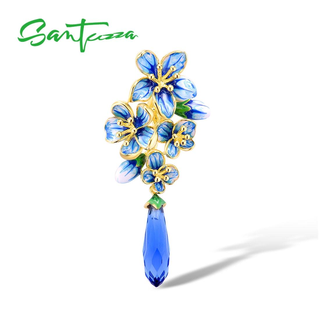 SANTUZZA Silver Pendant For Women  925 Sterling Silver Gold Color Exquisite Flowers Drop Pendant Fine Jewelry Handmade Enamel