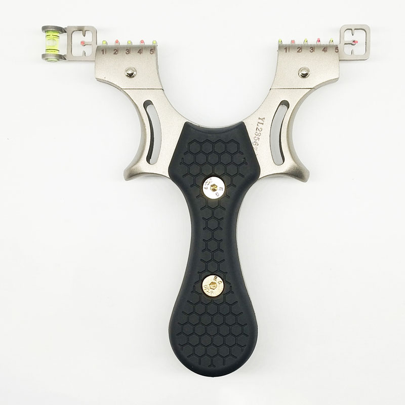 Hunting Slingshot Sandblasting Stainless Steel Catapult Five Aiming With Flat Rubber Band Outdoor Shooting Competitive