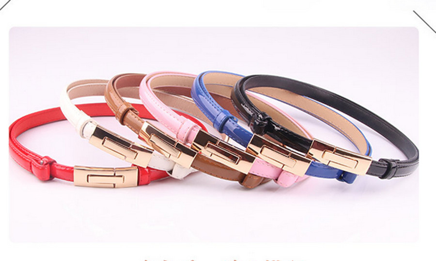 2020 Korean Version Of The Wild Patent Leather Women's Adjustable Buckle Belt Candy Color Sweet Fashion Women's Belt