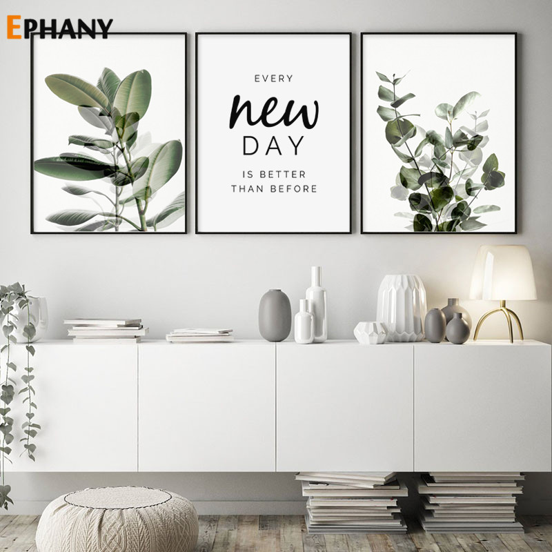 Green Plant Leaves Poster Print Eucalyptus Wall Art Canvas Painting Picture for Living Room Optimistic Quote Home Decoration
