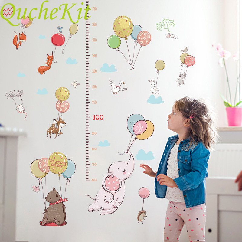 Cartoon Animals Elephant Balloon Height Measure Wall Sticker Home Decoration Wall Decals Kids Bedroom Growth Chart Wall Stickers