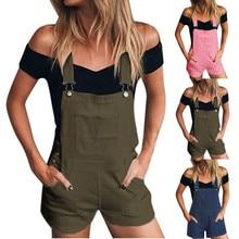 Ripped Jeans Shorts Overalls Suspender Hole-Pants Denim Jumpsuit Women Button-Pockets