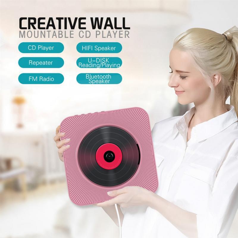 Portátil 5 em 1 leitor de cd parede alto-falante bluetooth banda completa rádio fm u-disk player casa boomb com controle remoto