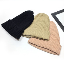 Womens Beanie Hats Hat Women Autumn and Winter Solid Color Knitted Wool Warm Hooded Cap Czapka Billie Eilish