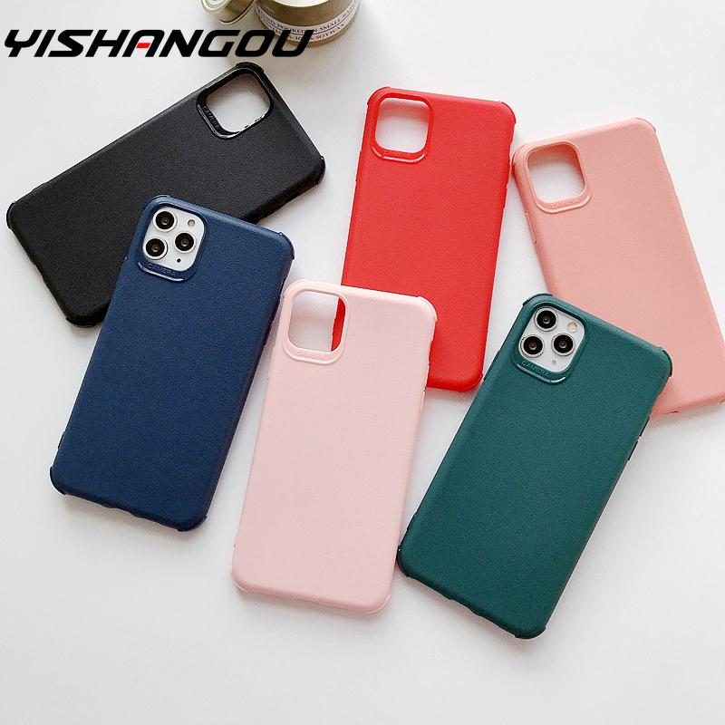 TPU Soft <font><b>Case</b></font> For <font><b>iPhone</b></font> 11 Pro Max <font><b>Case</b></font> Shockproof <font><b>Silicone</b></font> <font><b>Leather</b></font> Cover For iPhoneX XS Max XR 6 <font><b>6S</b></font> 7 8 Plus Candy Color Cover image
