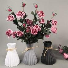 Modern plastik vazolar avrupa Anti-seramik çiçek vazo düğün süslemeleri Rattan gibi kırılmaz sadelik sepeti aranjmanı