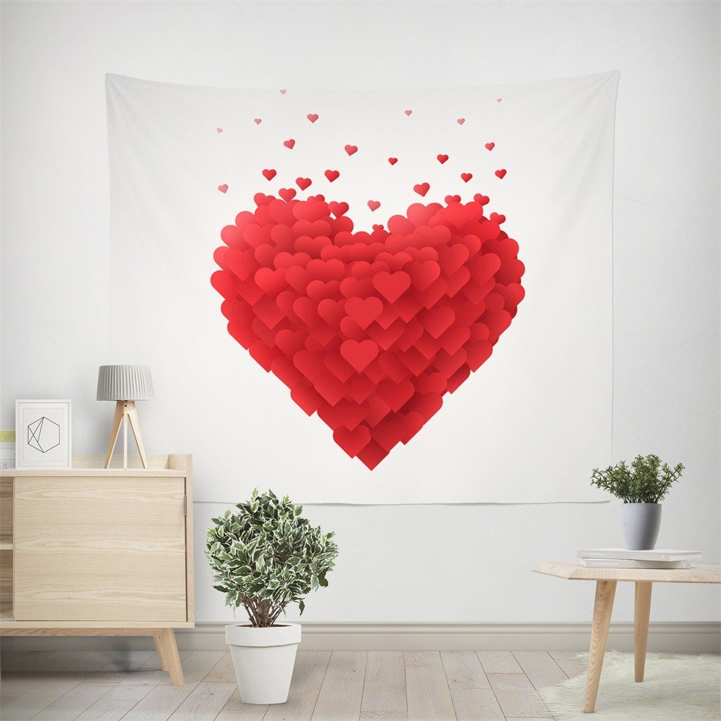 Valentine's Day Gifts Love Tapestry Hanging Cloth Wall Painting Home Decorative Macrame Tapestry Гобелен Макраме Dropshipping 13|Decorative Tapestries| |  - title=
