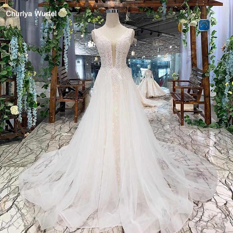 LSS508 Bohemian Wedding Dress V-neck Sleeveless A-line Cheap Wedding Gowns Simple Beach Bridal Dresses Vestidos De Noiva 2019