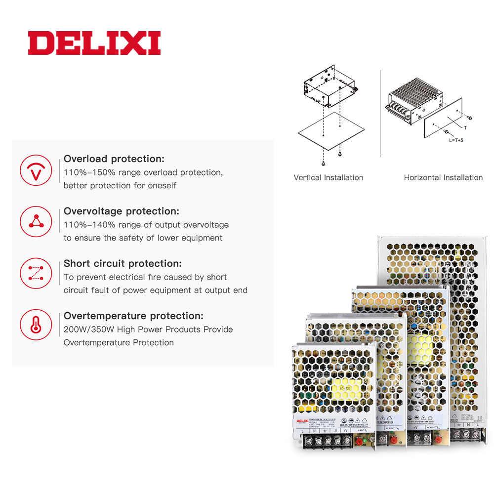 Fuente de alimentación de conmutación de transformador ultrafino DELIXI DC 5V 12V 18V 24V 48V 35-350w transformador de iluminación para tira de luz Led