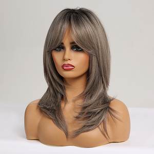Image 4 - ALAN EATON Medium Layered Straight Synthetic Wig for Black Women Ombre Black Brown Gray Ash Hair with Bangs Heat Resistant Fiber