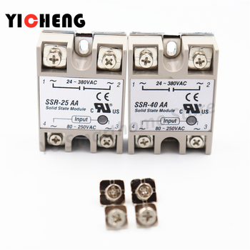 цена на Voltage relay Single-phase solid state relay Transparent shell plastic cover shell Small solid rail radiator seat SSR-40AA 25AA