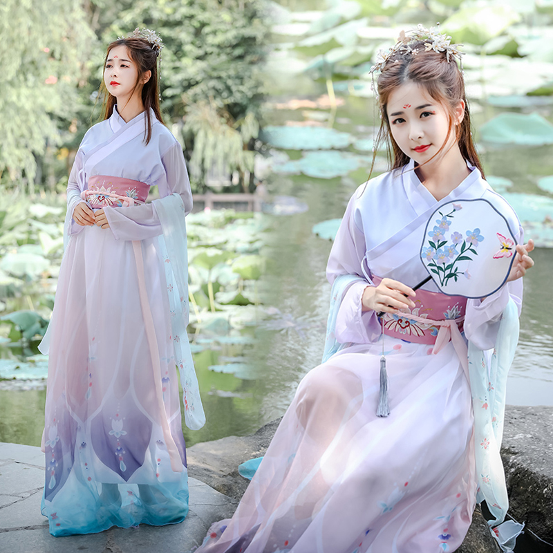 Traditional Dance Costumes Women Chinese Printing Hanfu Folk Performance Clothing Singers Oriental Festival Outfit DC2700