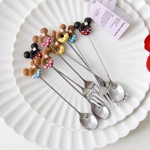 Fork-Spoon Kitchen-Supplies Doughnut Coffee Stainless-Steel Mickey Dinner Desser Cartoon