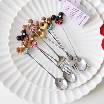 1pcs Stainless Steel Mickey Doughnut fork Spoon Ice cream coffee  stirring spoon Dinner Cartoon Teaspoon Kitchen Supplies Desser